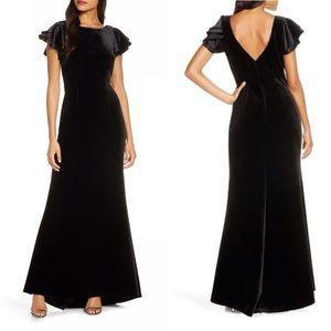 Eliza J Satin Sleeve Velvet Trumpet Dress Formal